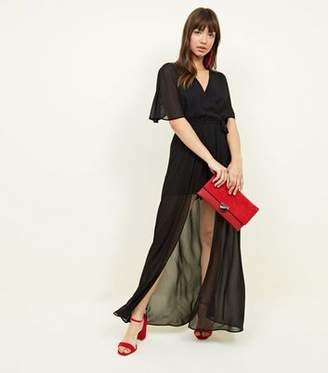 4084953825 New Look Black Wrap Front Maxi Playsuit