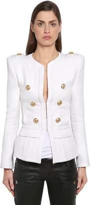 Balmain Piqué Blazer W/ Gold Buttons