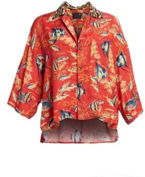 R 13 Women's Oversized Cropped Hawaiian Shirt - Red Fish With Leopard - Size XS