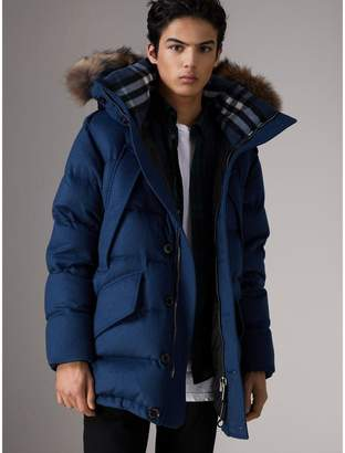 Burberry Detachable Fur Trim Cashmere Down-filled Parka