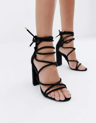 3a444c61a5 Simmi Shoes Simmi London Heidi black lace up block heeled sandals