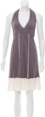 Fendi Raw-Edge-Trimmed Halter Dress