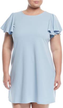 Neiman Marcus Flutter-Sleeve Scuba Sheath Dress, Plus Size