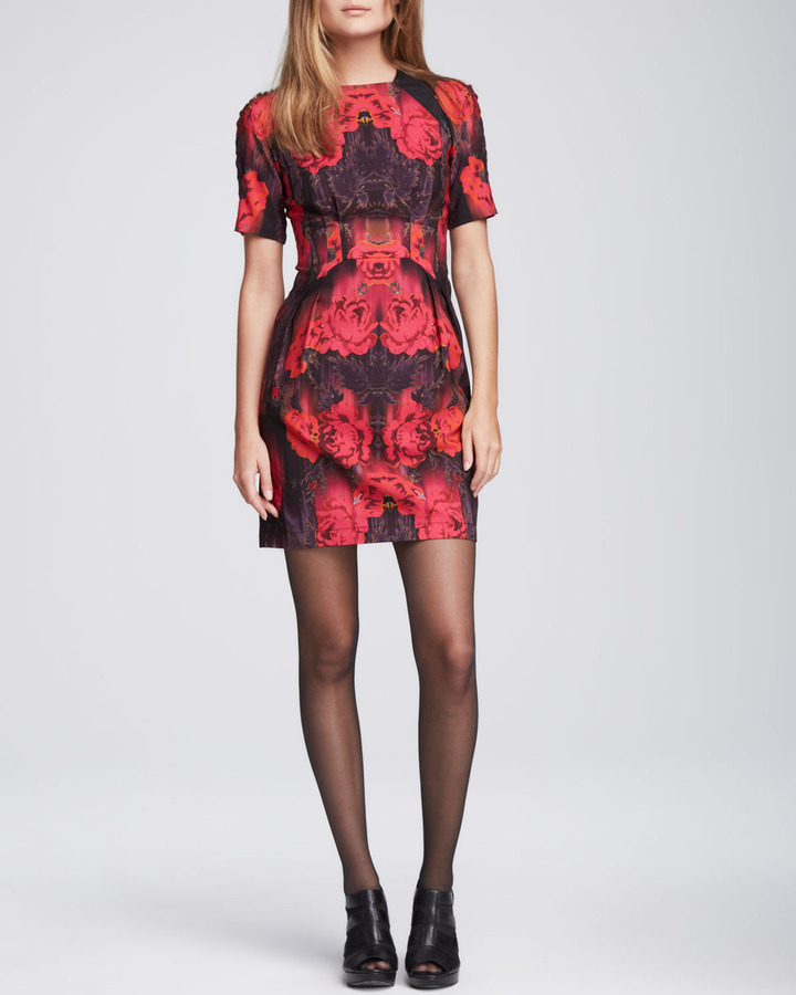 Nanette Lepore Spaceship Leather-Inset Dress