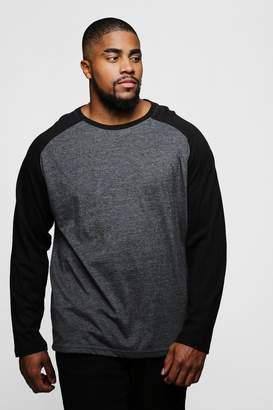 boohoo Big And Tall Long Sleeve Raglan T-Shirt