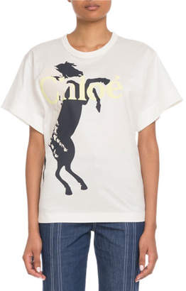 Chloé Short-Sleeve Horse-Logo Graphic T-Shirt