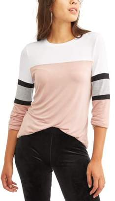 Miss Chievous Juniors' Colorblock Athletic Stripe Crew Neck Long Sleeve T-Shirt