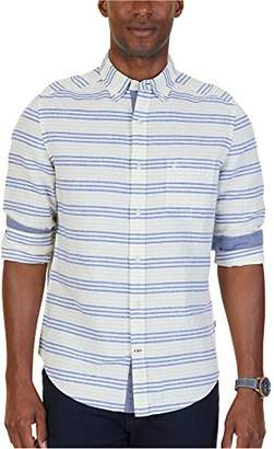 Nautica Men's Standard Long Sleeve Horizontal Stripe Linen Button Down Shirt