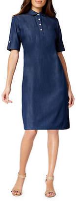 Karen Scott Short-Sleeve Cotton Shirtdress