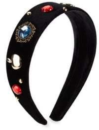FANTASIA Girl's Classic Snow White Embellished Velvet Headband