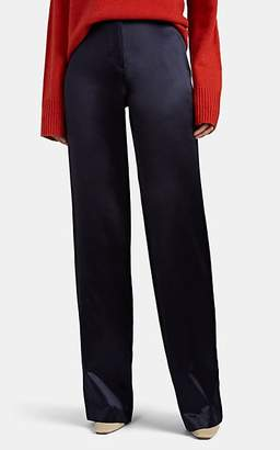 Barneys New York Women's Striped Silk Wide-Leg Pants - Navy