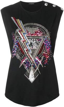 Balmain bead embroidered T-shirt