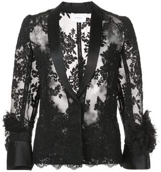 Marchesa sheer lace shirt
