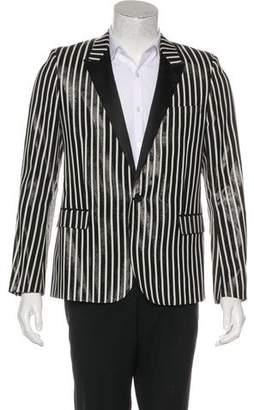 Saint Laurent 2013 Coated Striped Tuxedo Blazer