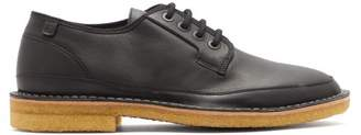 Lanvin Round Toe Matte Leather Derby Shoes - Mens - Black