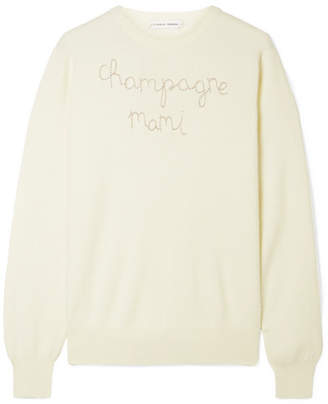Lingua Franca - Champagne Mami Embroidered Cashmere Sweater - Cream