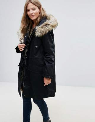 French Connection Frost Faux Fur Trim Hooded Parka