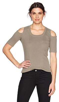 Monrow Women's Rib Cold Shoulder Top