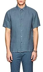 Theory Men's Irving Slub Linen Shirt-Blue