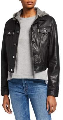 LAMARQUE Joelle Leather Jacket with Detachable Hood