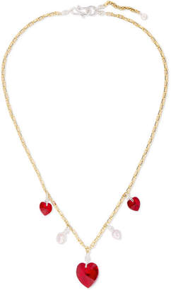 Swarovski WALD Berlin - Be My Lover Gold-plated, Crystal And Pearl Necklace