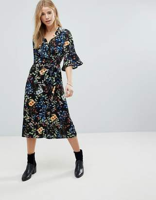 Girls On Film Floral Wrap Front Midi Dress With Fluted Sleeve