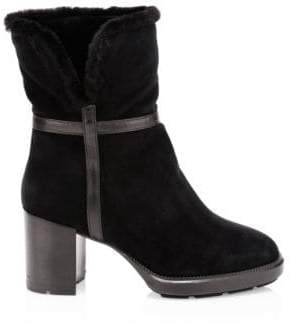 Aquatalia Women's Isolda Shearling-Lined Suede Ankle Boots - Black - Size 7