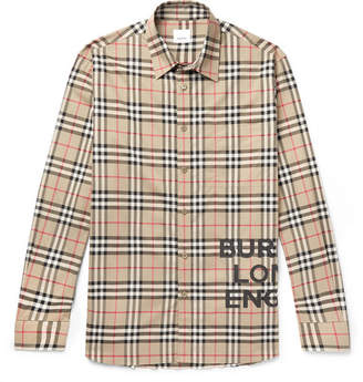 Burberry Logo-Print Checked Cotton-Poplin Shirt - Men - Beige