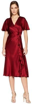 Prabal Gurung Charmeuse Ruffled and Cinched Flutter Sleeve Dress Women's Dress