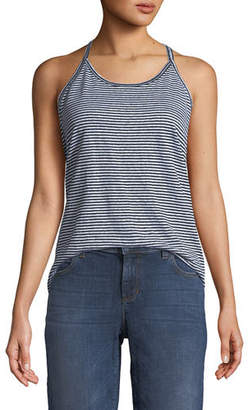 Eileen Fisher Striped Organic Linen Jersey Strappy Tank