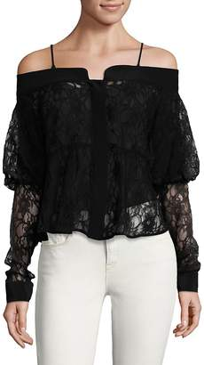 Ronny Kobo Women's Silk Lace Off-The-Shoulder Top
