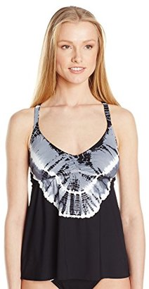 Lucky Brand Women's Half Moon Tie Dye Tankini with Strappy Back and Removable Cups $32.77 thestylecure.com