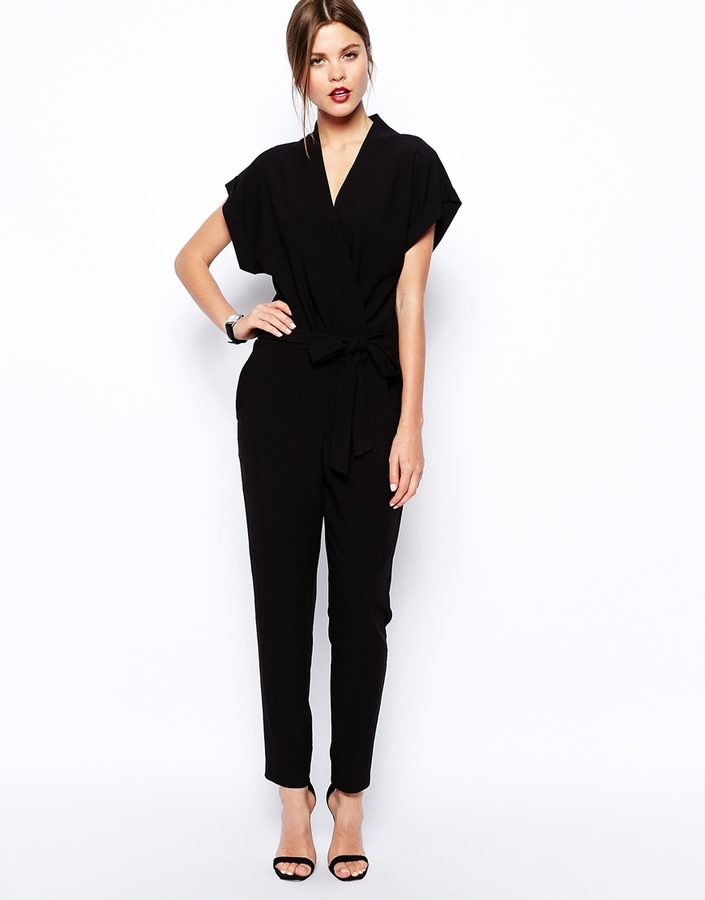 Asos Jumpsuit With Tie Waist And Short Sleeves