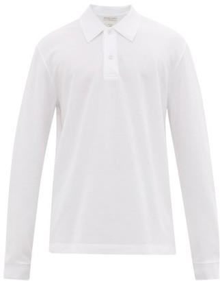 Bottega Veneta Long Sleeved Cotton Pique Polo Shirt - Mens - White