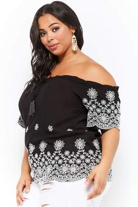 Forever 21 Plus Size Floral Embroidery Off-the-Shoulder Top