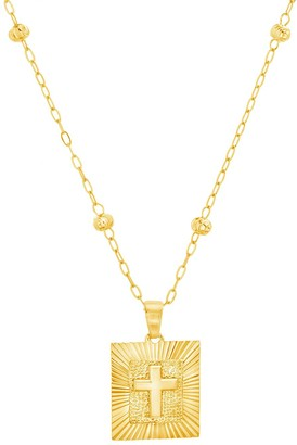 Paige Harper Square Pendant with Cross Necklace