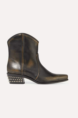 Miu Miu Distressed Studded Leather Ankle Boots - Black