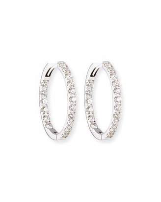 Memoire Oval Diamond Hoop Earrings in 18K White Gold
