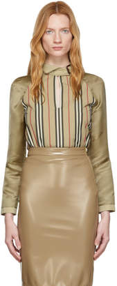 Burberry Beige Icon Stripe Blouse
