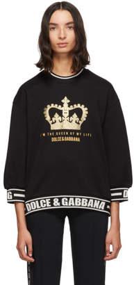 Dolce & Gabbana Black Three-Quarter Sleeve Crown Sweatshirt
