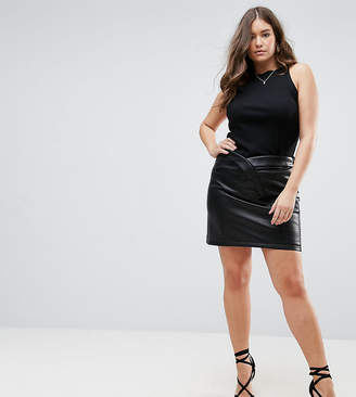 Asos Textured Leather Look Mini Skirt