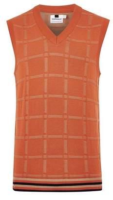 Topman Mens Orange Check Knitted Tank
