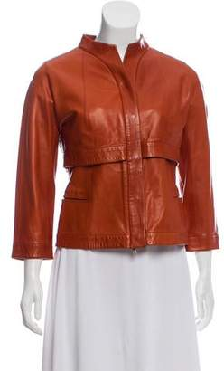 Narciso Rodriguez Collarless Leather Jacket