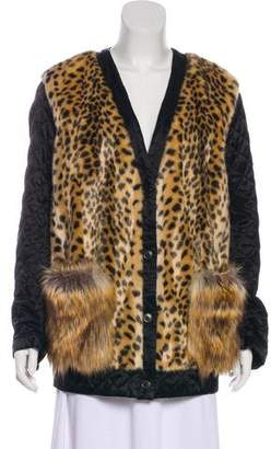 Dries Van Noten Vegan Fur-Trimmed Leopard Print Jacket