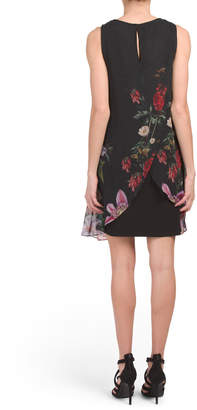 Adrianna Papell Romantic Floral Chiffon Trapeze Dress