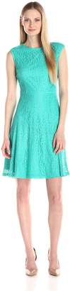 London Times Women's Cap Sleeve Lace Fit and Flare Dress Fully Lined