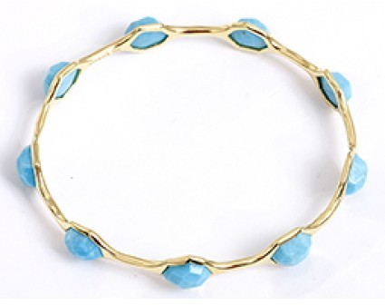 Ippolita excellent (EX) 18K Yellow Gold & Turquoise Rock Candy Bangle