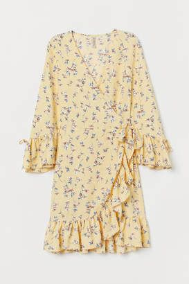 H&M Patterned Wrap-front Dress - Yellow