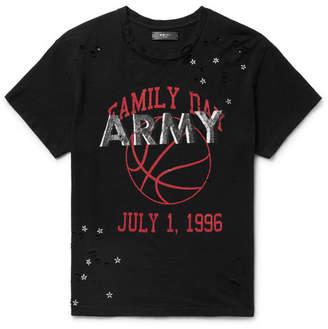 Amiri Distressed Printed Cotton-Jersey T-Shirt