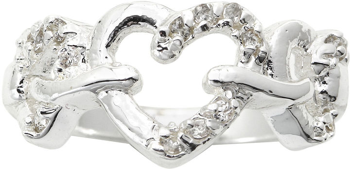 JCPenney Bridge Jewelry city x city Pure Silver-Plated Cubic Zirconia Triple Heart Ring
